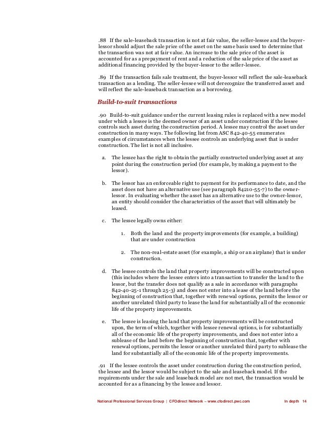 National Professional Services Group   CFOdirect Network – www.cfodirect.pwc.com In depth 14 .88 If the sale-leaseback tra...