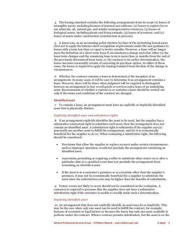 National Professional Services Group   CFOdirect Network – www.cfodirect.pwc.com In depth 2 .4 The leasing standard exclud...