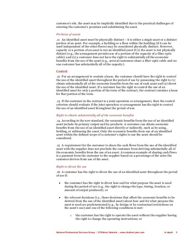 National Professional Services Group   CFOdirect Network – www.cfodirect.pwc.com In depth 3 customer's site, the asset may...