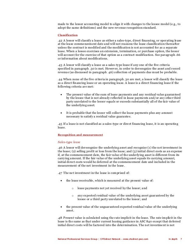 National Professional Services Group   CFOdirect Network – www.cfodirect.pwc.com In depth 7 made to the lessor accounting ...
