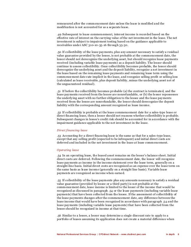 National Professional Services Group   CFOdirect Network – www.cfodirect.pwc.com In depth 8 remeasured after the commencem...