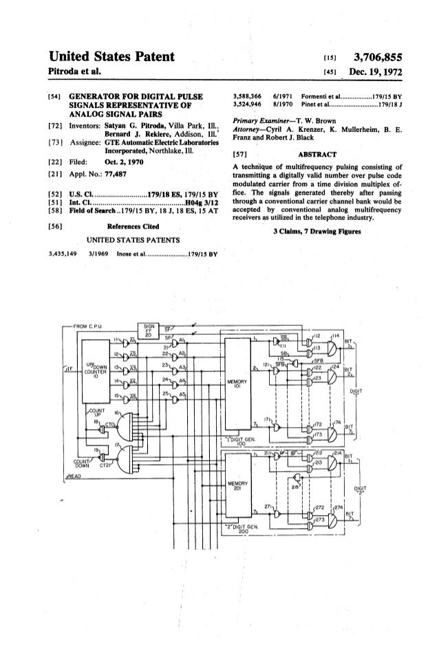 United States Patent 1151 3,706,855 [72] [73] [22] [21] [52] [51] [58] [56] 3,435,149 ANALOG SIGNAL PAIRS Inventors: Satya...