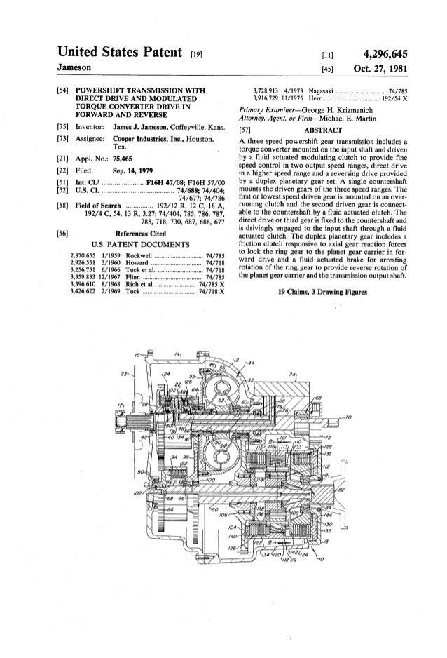 United States Patent [19] [11] 4,296,645 Jameson [45] Oct. 27, 1981 [54] POWERSHIFT TRANSMISSION WITH 3,728,913 4/1973 Nag...
