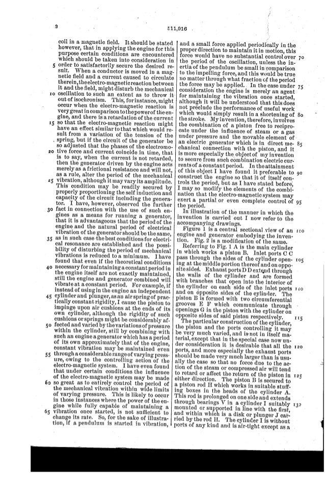 Patente de Nicola Tesla Us511916