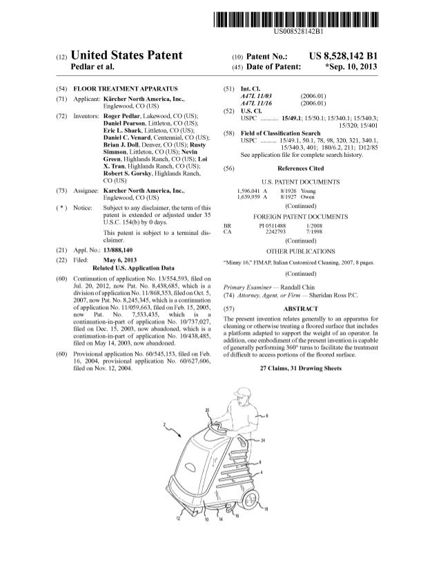 (12) United States Patent Pedlar et a1. US008528142B1 US 8,528,142 B1 *Sep. 10, 2013 (10) Patent N0.: (45) Date of Patent:...