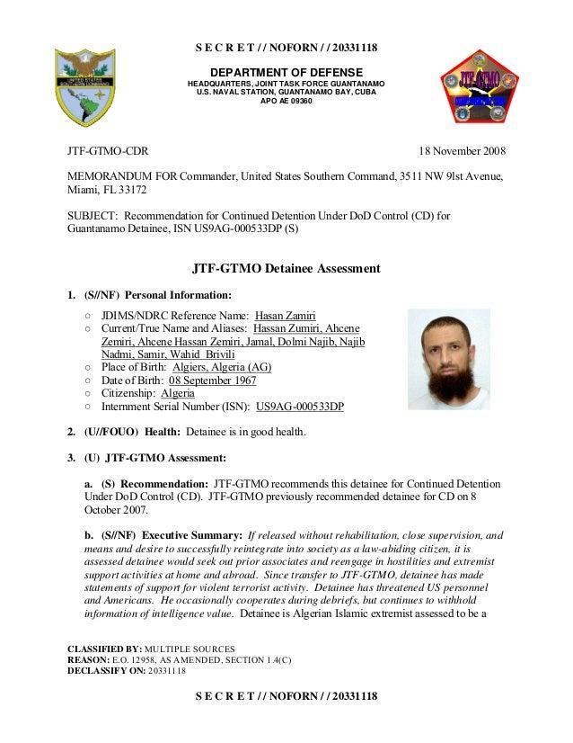 S E C R E T / / NOFORN / / 20331118 DEPARTMENT OF DEFENSE HEADQUARTERS, JOINT TASK FORCE GUANTANAMO U.S. NAVAL STATION, GU...