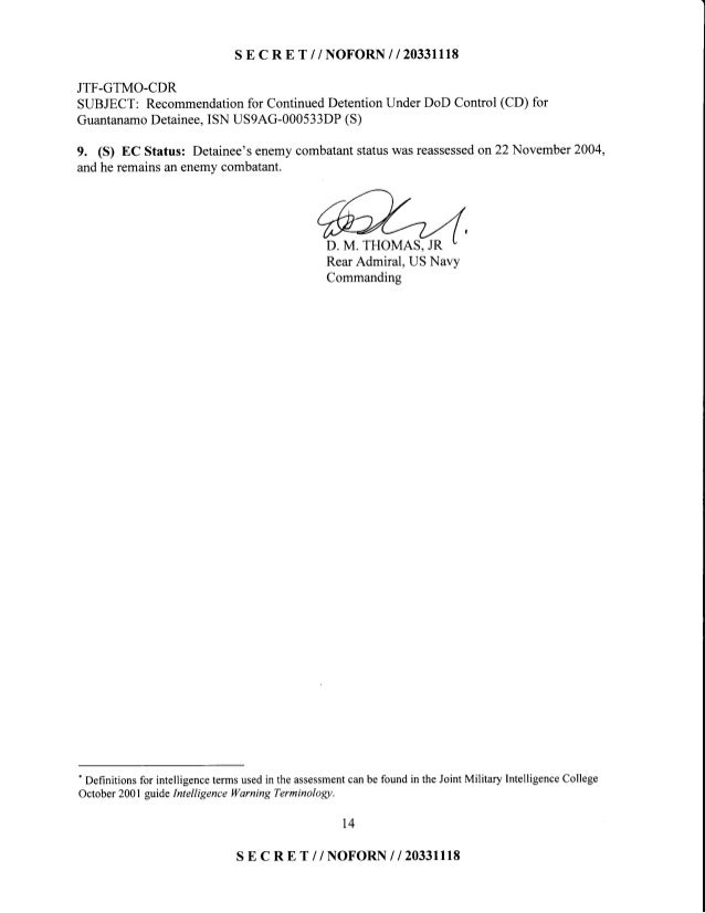 S E C R E T //NOFORN I I 2O33III8 JTF-GTMO-CDR SUBJECT: Recommendationfor ContinuedDetentionUnderDoD Control (CD) for Guan...