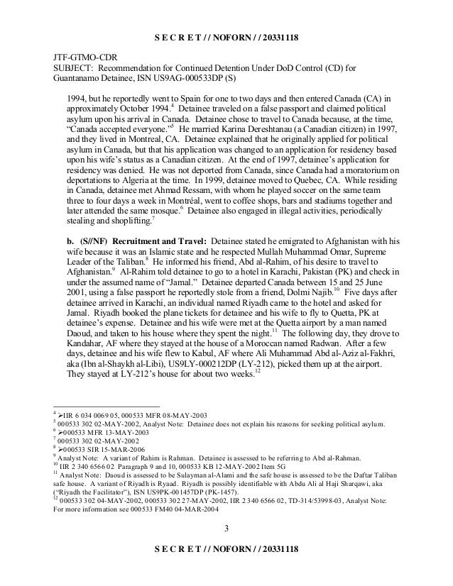 S E C R E T / / NOFORN / / 20331118 JTF-GTMO-CDR SUBJECT: Recommendation for Continued Detention Under DoD Control (CD) fo...