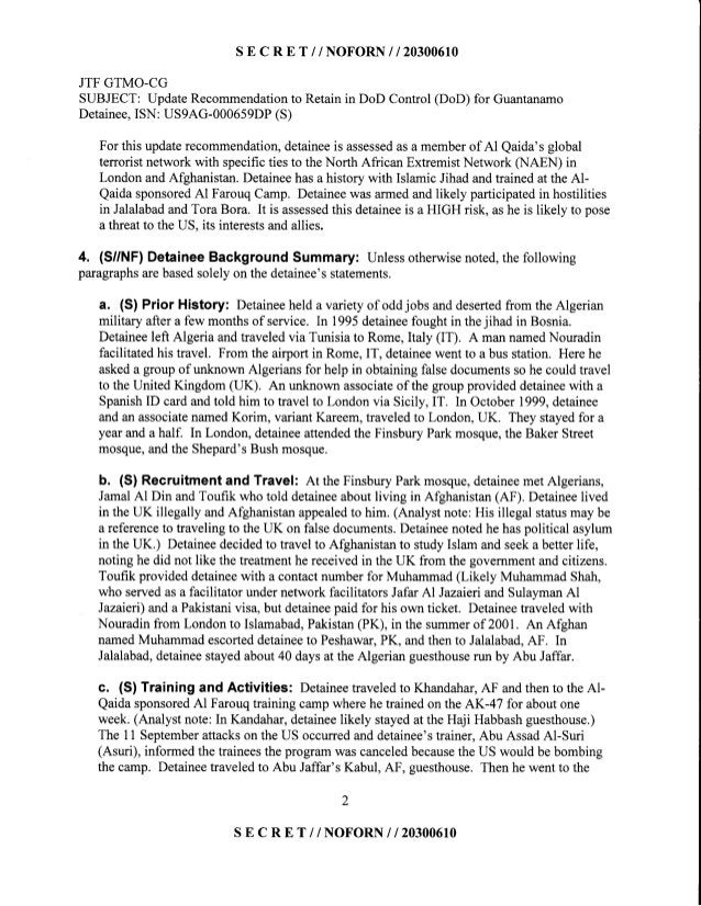 S E C R E T // NOFORN I I 2030O610 JTF GTMO-CG SUBJECT: UpdateRecommendationto Retainin DoD Control (DoD) for Guantanamo D...