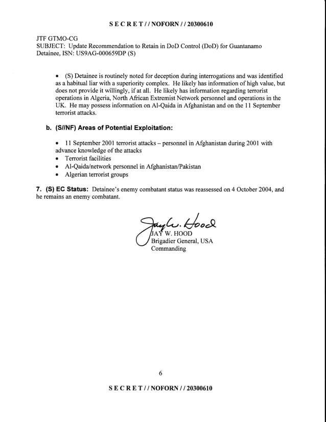 SE C R E T //NOFORN I I 203O061O JTFGTMO-CG SUBJECT:UpdateRecommendationto Retainin DoD Control(DoD)for Guantanamo Detaine...