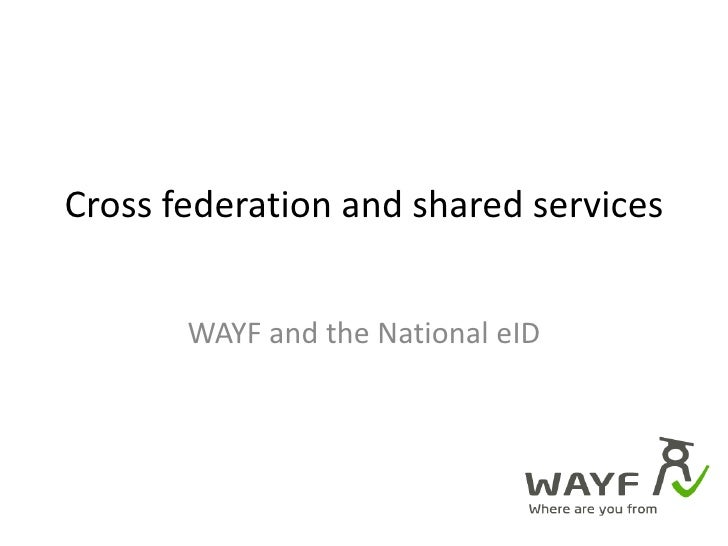 Cross federation and shared services<br />WAYF and the National eID<br />