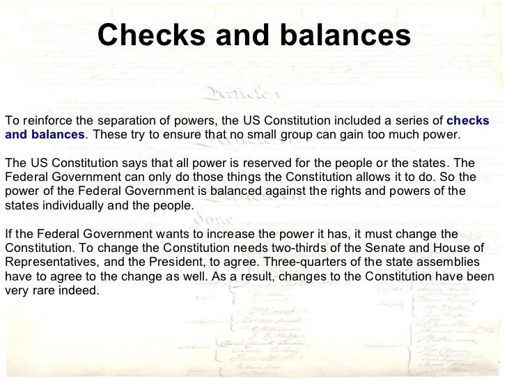 Checks and balances of power in us government makes it stable