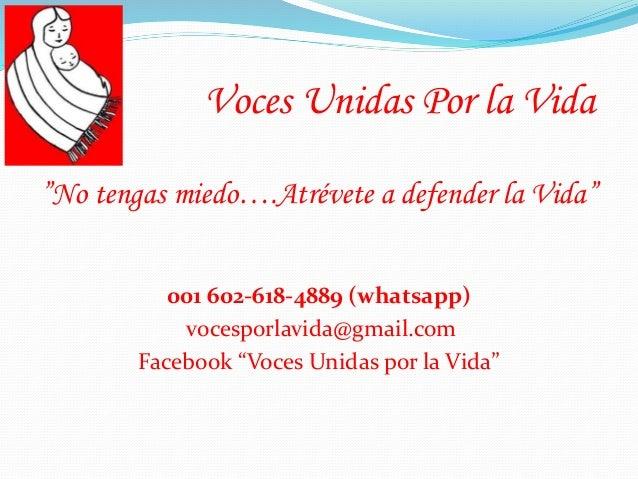 "001 602-618-4889 (whatsapp) vocesporlavida@gmail.com Facebook ""Voces Unidas por la Vida"" Voces Unidas Por la Vida ""No teng..."