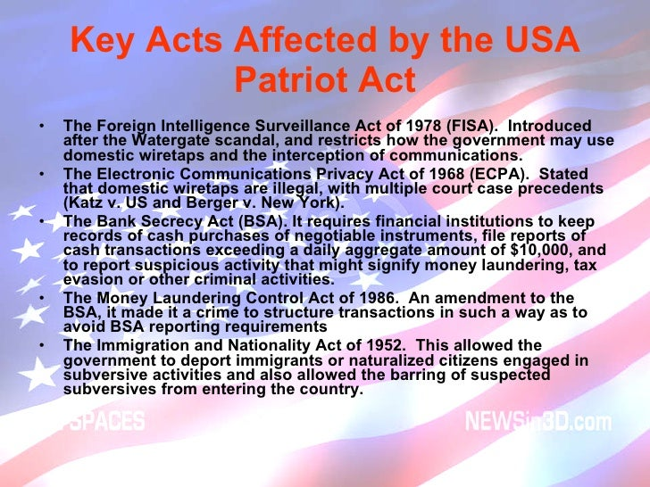 "an analysis of the patriot act by the us government Before the patriot act, the government could conduct such wiretaps only where the primary purpose was to obtain foreign intelligence the patriot act expanded the fourth amendment exception now, pursuant to section 218, fisa may be used where a ""significant"" purpose of the investigation is foreign intelligence gathering."
