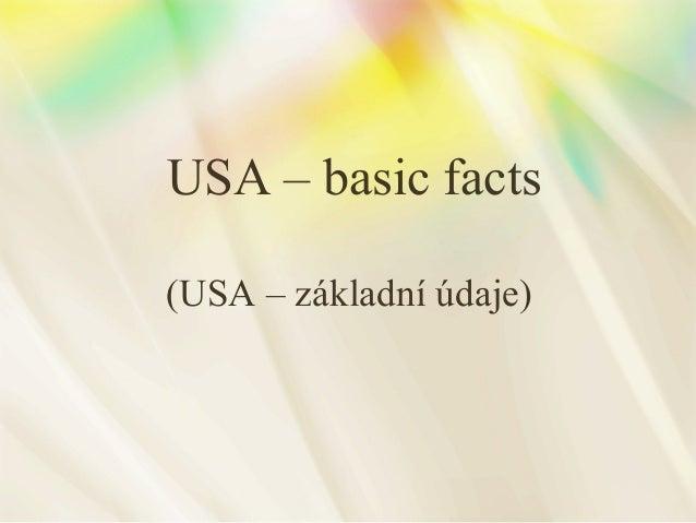 USA – basic facts (USA – základní údaje)