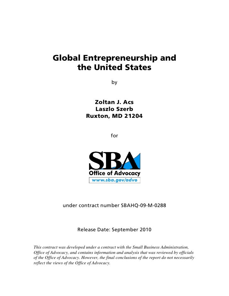 Global Entrepreneurship and               the United States                                           by                  ...