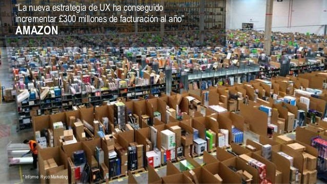 """""""La nueva estrategia de UX ha conseguido incrementar £300 millones de facturación al año"""" AMAZON * Informe Ryco Marketing"""