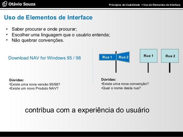 Especialista em Usabilidade e Avaliação de InterfacesPrincípios de Usabilidade > Uso de Elementos de Interface Uso de Elem...
