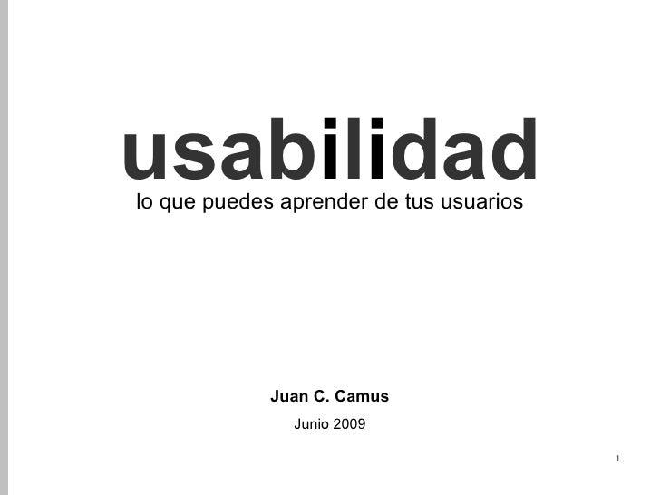 usabilidad lo que puedes aprender de tus usuarios                  Juan C. Camus                Junio 2009                ...