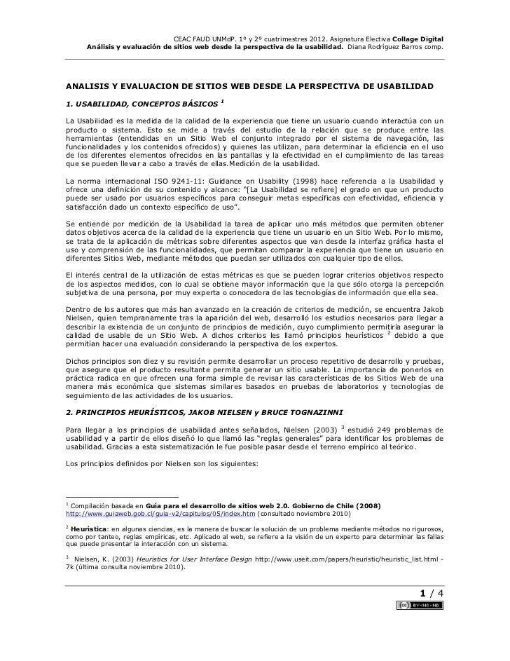 CEAC FAUD UNMdP. 1º y 2º cuatrimestres 2012. Asignatura Electiva Collage Digital      Análisis y evaluación de sitios web ...