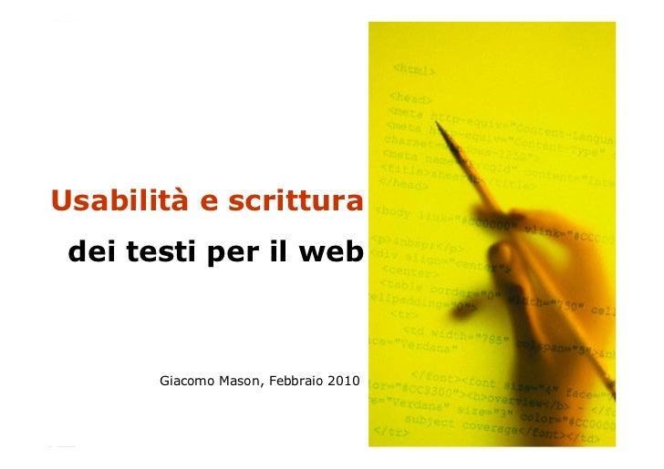 """MIUR - Percorso formativo: Siti WEB e comunicazione istituzionale""""     Usabilità e scrittura                              ..."""