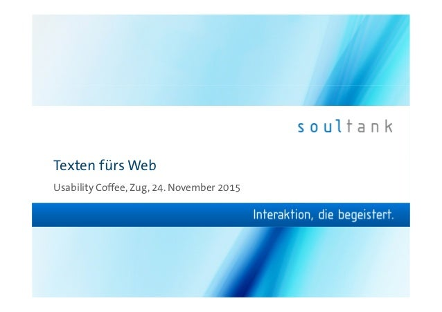 Texten fürs Web Usability Coffee, Zug, 24. November 2015