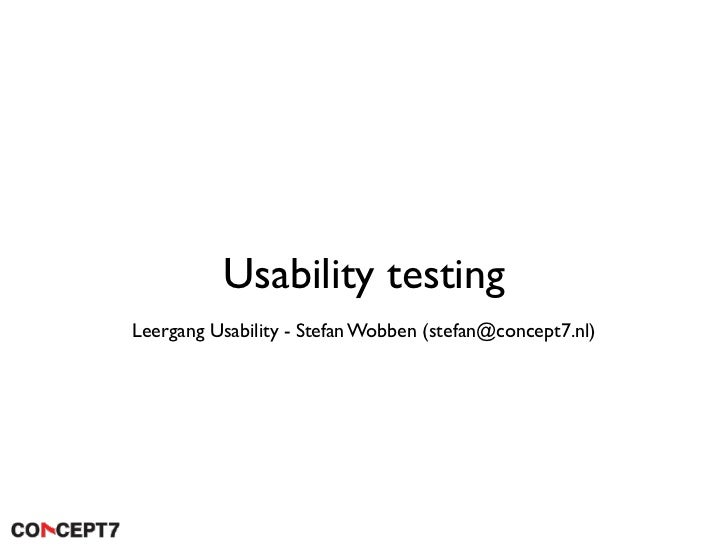 Usability testing Leergang Usability - Stefan Wobben (stefan@concept7.nl)