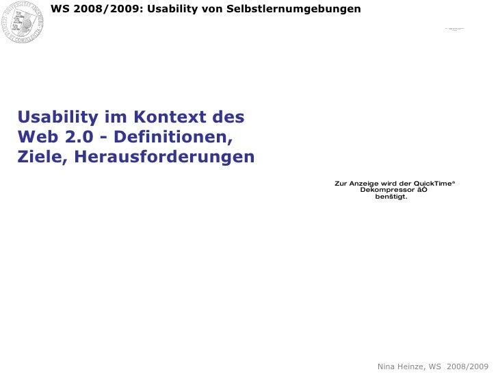 Usability im Kontext des Web 2.0 - Definitionen, Ziele, Herausforderungen