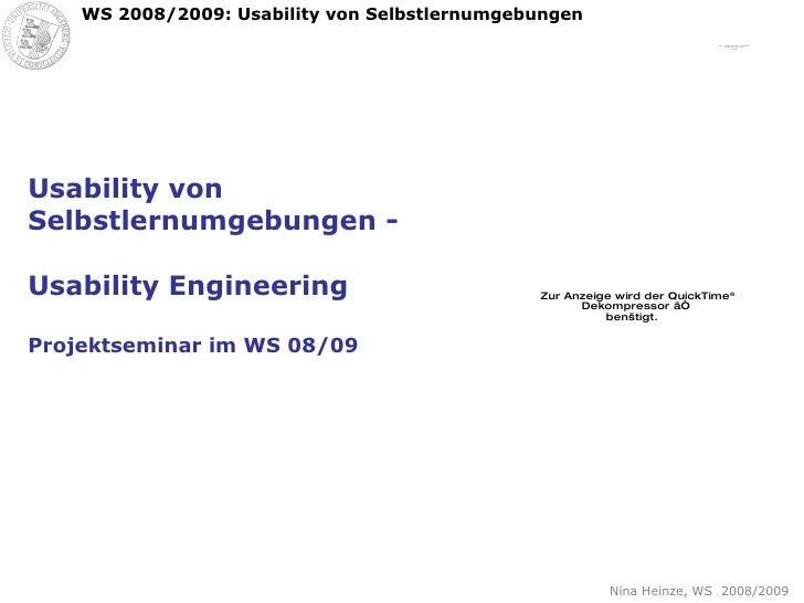 Usability von Selbstlernumgebungen - Usability Engineering Projektseminar im WS 08/09