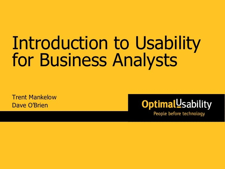 Trent Mankelow Dave O'Brien Introduction to Usability for Business Analysts