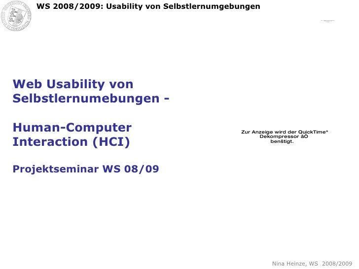 Web Usability von Selbstlernumebungen -  Human-Computer Interaction (HCI) Projektseminar WS 08/09
