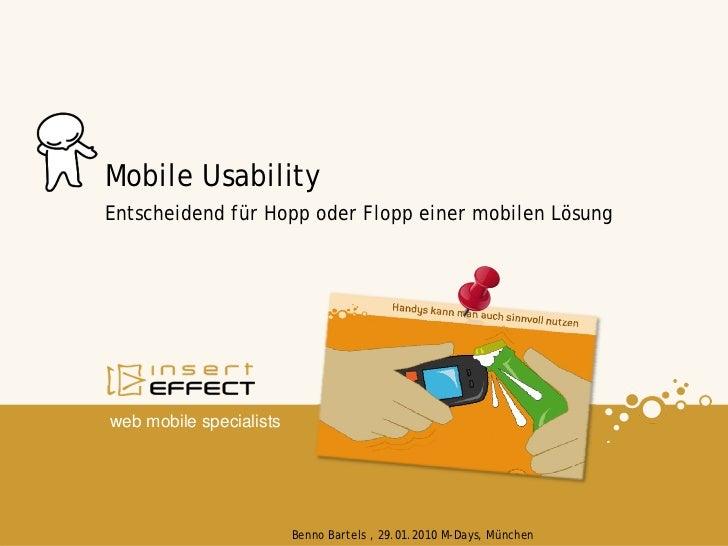 Mobile Usability Entscheidend für Hopp oder Flopp einer mobilen Lösung     web mobile specialists                         ...