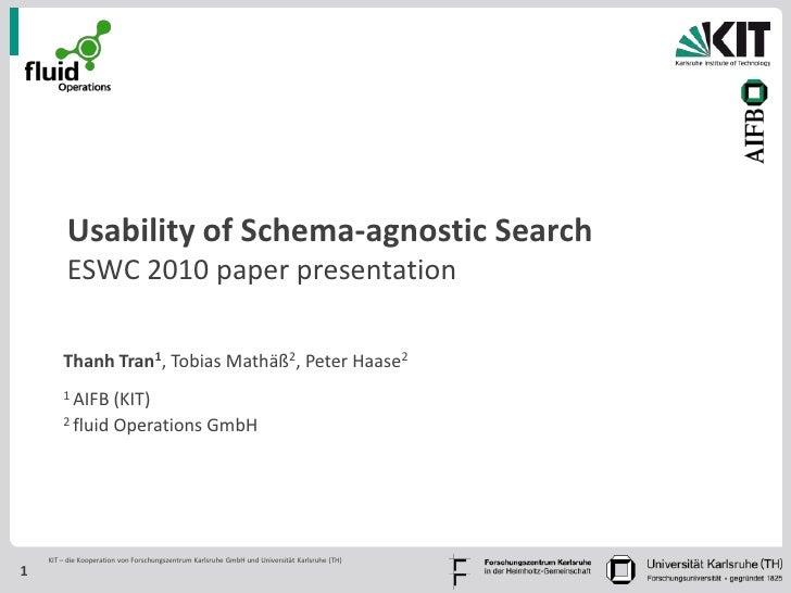 Usability of Schema-agnostic Search         ESWC 2010 paper presentation        Thanh Tran1, Tobias Mathäß2, Peter Haase2 ...