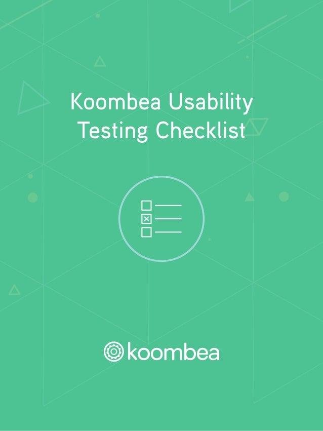 Koombea Usability  Testing Checklist