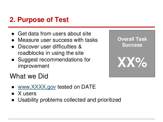 Usability testing report template for Usability study template