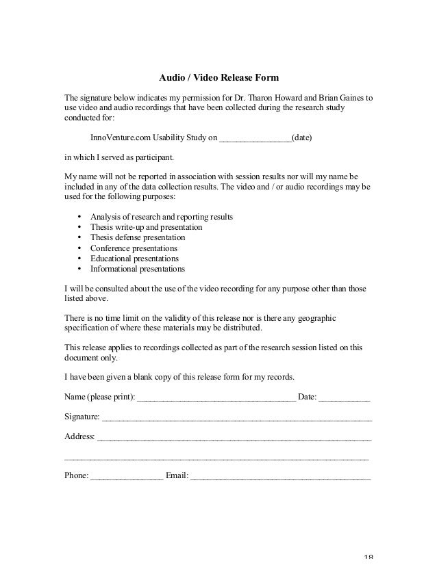 Video Consent Form. Suggestions For