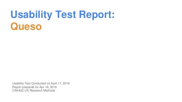 Usability test report for queso for Usability study template