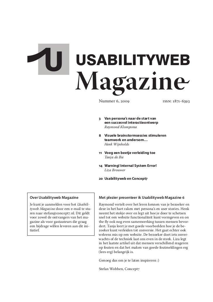 Magazine      Nummer 6, 2009                            ISSN: 1871-6393                                               3 V...