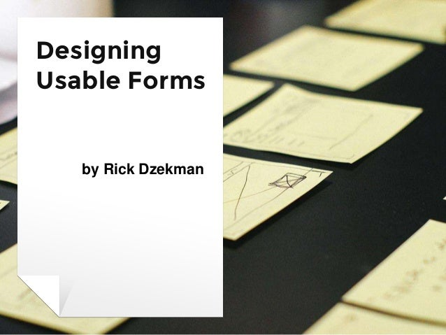 Designing Usable Forms by Rick Dzekman