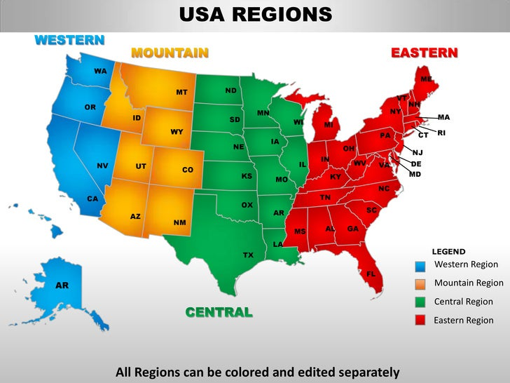 Usa central region country editable powerpoint maps with states and on