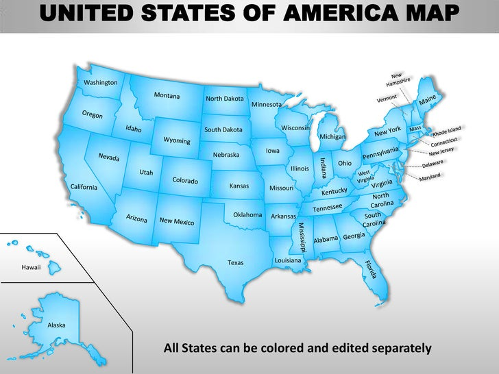 United States Map Ppt.Usa Country Editable Powerpoint Maps With States And Counties