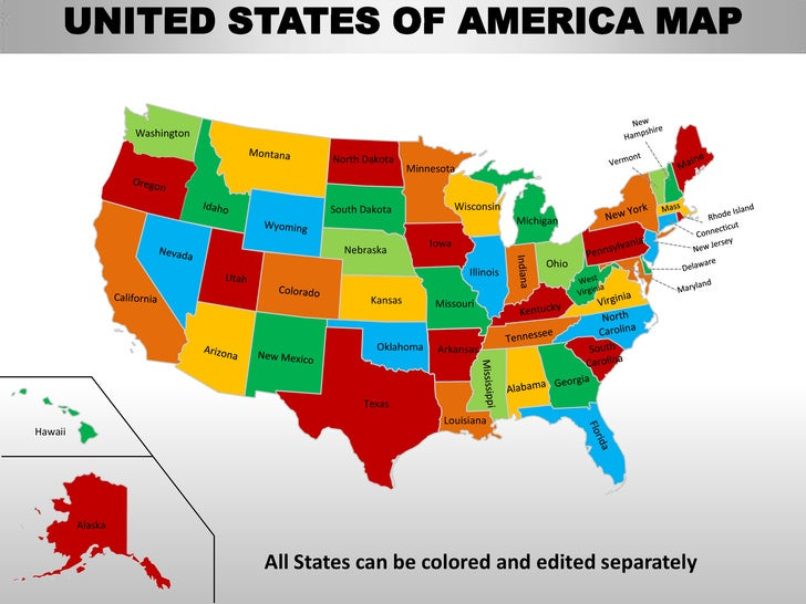 Usa country editable powerpoint maps with states and counties
