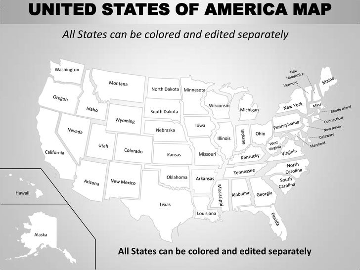 Usa Country Editable Powerpoint Maps With States And Counties - Us map that can be colored