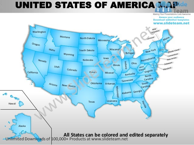 usa country editable powerpoint maps with states and