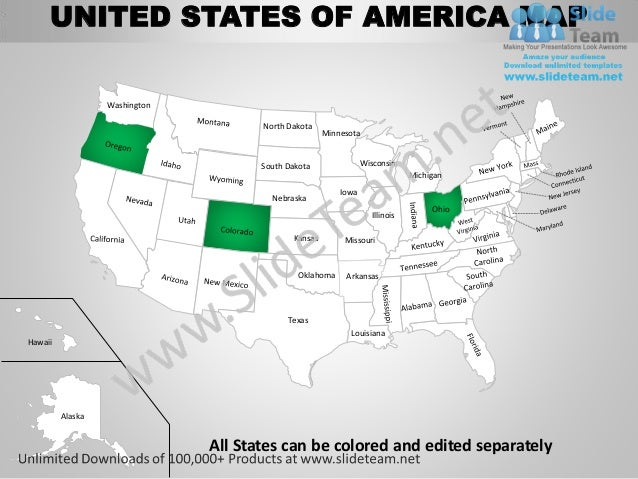 Usa country editable powerpoint maps with states and counties templat