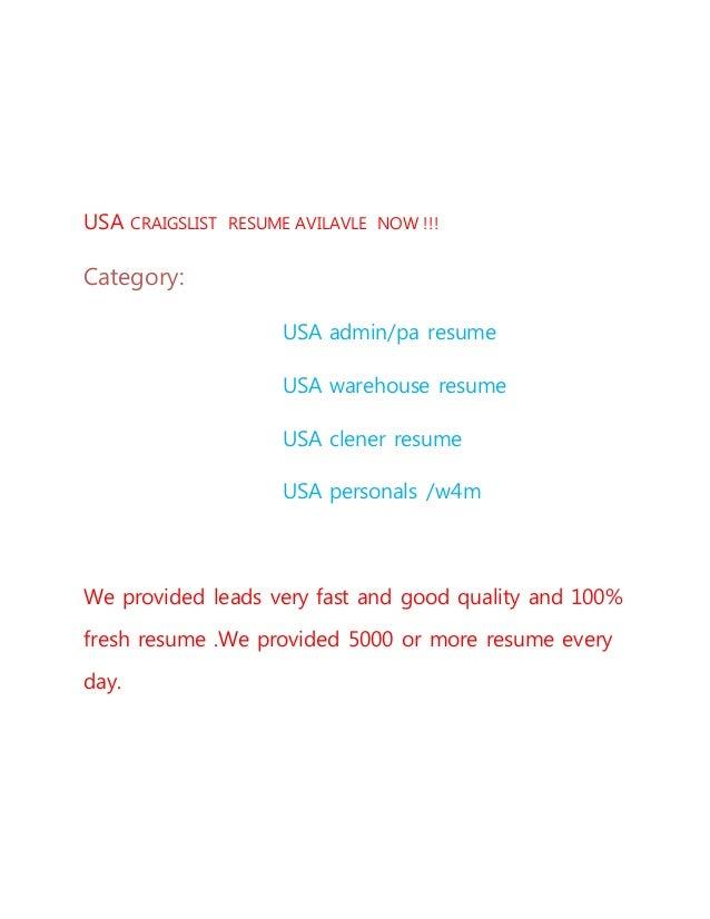 usa craigslist resume avilavle now 1