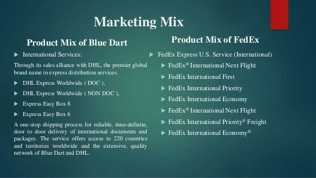 dhl marketing mix 4p's imc's name is derived from the basic marketing mix as created by the father of marketing neil borden in his studies toward developing a marketing system.