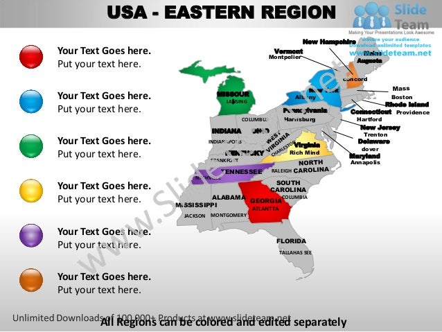 Usa eastern region country editable powerpoint maps with ...