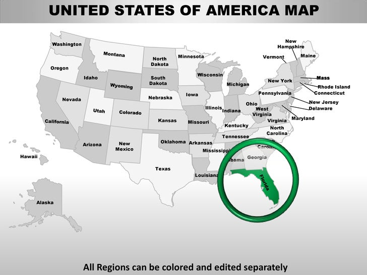 Usa florida state powerpoint county editable ppt maps and templates