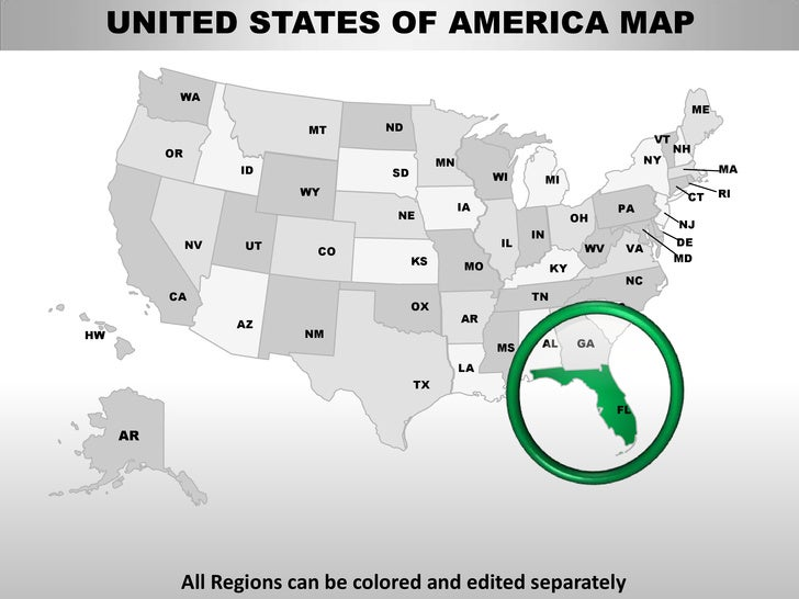 Usa Florida State Powerpoint County Editable Ppt Maps And Templates - Us map that can be edited